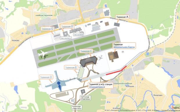 Карта аэропорта Шереметьего